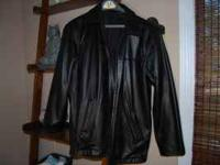 Mens black leather jacket from Mens Warehouse. Size