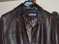 Mens brown leather jacket from Structure. Somewhat