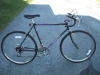 mens U.S. made murray road bike, black/purple decals