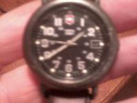 Mens Swiss Army Cavalry watch with leather band. Worn
