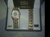 Brand new mens geneva Quartz watch with matching