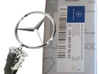 NEW, IN BOX MERCEDES BENZ HOOD ORNAMENT.