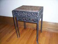 Metal and Wicker Accent Tables The tables nest