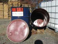 CLEAN 55 GALLON METAL BARRELS with LIDS for $12. each