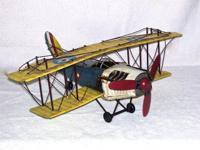 """Metal Bi-plane model. 20"""" Wingspan. 17"""" Nose to Tail."""