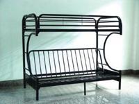 Heavy duty, black, Metal, C-shaped design bunk bed in