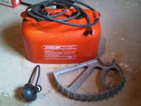 Metal gas tank with pump hose Portable trailer jack