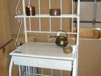 A nice metal storage and decorative hutch shelving