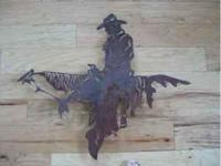 Rustic metal laser cut art - Cowboy Riding a Horse