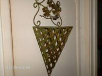 Rot Iron Wall Vase  - open weave pattern - 22 in tall