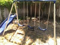Metal frame / chains, plastic swing seats and slide,