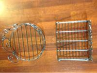 Matching metal plate holder, metal silver ware holder