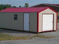 Metal storage buildings and garage. Barn style dropped