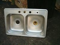"Nice metal double bowl sink, 33"" long, 22"" broad, 6"""