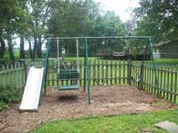 This is a well loved, well used metal swing set with 2