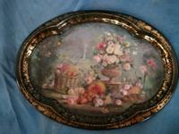 Beautiful metal tray with floral still life setting.