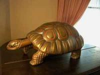 Brass, tin and copper turtle sculpture by Sergio