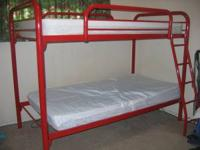 Nice kids metal bunkbed with two fairly new twin