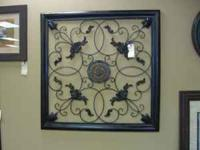 "Metal wall art (black), (45"" L x 45"" W) can either be"