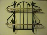 "Metal Shelf Rack 32"" x 32"" Green and brass colored"