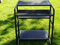 Three tier metal Computer cart. Black Call  Location: