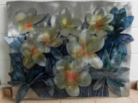 "This 28"" X 38"" floral metal wall art has beautiful"