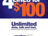 4 LINES ONLY $100 PER MONTH!!!!! Unlimited data, calls,