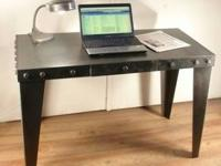 All steel workdesk with detachable legs for. delivery.