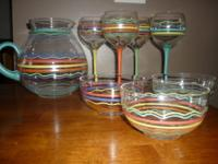 Mexican themed wine set with 4 wine glasses, 3 bowls