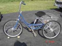 "BLUE 24"" ADULT 3 WHEEL BIKE WITH WIDE SEAT AND REAR"