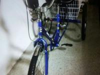 This adult blue Tricycle has a 3 speed upgrade. It