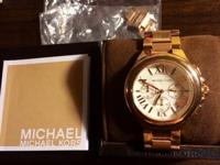 Michael Kors Rose Gold Chronograph Watch With Original