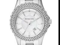Womens michael kors watch, silver with two rows of