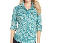 Swirls of paisley lend charm to this crisp shirt from
