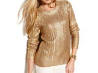 The classic cable-knit sweater gets a shimmery makeover