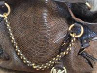 Excellent like new condition! Brown leather snake skin