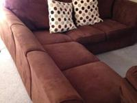 Brown Micro Fiber sectional couch. It comes in 3 pieces