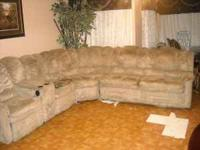 Huge sectional ( Biege) with two sided recliner 350,