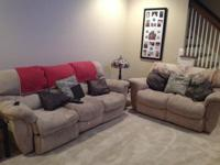 Matching light tan couch and love seat around 71/2