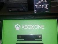X box one everything with box and thief game  for sale