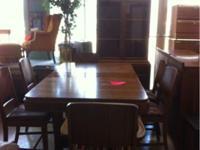 Beautiful solid oak table with veneer, American maker,