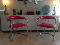 Cantilever tubular chrome Mid Century Modern chairs in