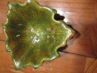 small mid-century ceramic green-leaf bowl, not marked,
