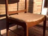 A cool vintage 50-60's walnut danish chair with tan