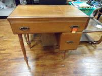 Mid Century Modern Sewing Machine Table, opens on both