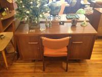 Mid Century Modern Walnut Desk 1 Drawer & Cabinets Both