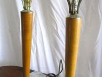 Graceful pair of mid century lamps  20 inches tall Base
