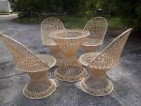 Beautiful Mid Century spun glass patio and 4 chairs.