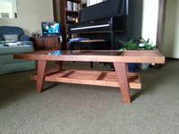 "Mid-Century table/bench 52""x16""x15 1/4"". Featured is an"