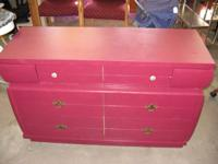 "Mid Mod Crimson Dresser with 6 drawers - 271. 51"" x 18"""